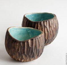 """Купить Комплект пиал """"Лазурный орех"""" - бирюзовый, пиала керамическая, керамика ручной работы"""