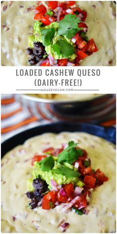 Loaded Cashew Queso - Looking for your new favorite dairy-free queso? This cashew queso is loaded with beans, guac, and pico for an amazing vegan Tex-Mex recipe! Click here for the recipe or pin this for later <3