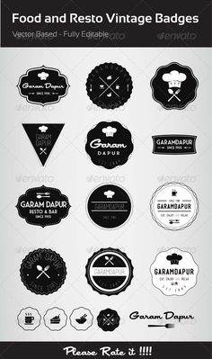 Food and Resto Vintage Badges - GraphicRiver Item for Sale