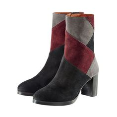 Dreifarbige Stiefelette aus Veloursleder. Mit Reißverschluss innen und Blockabsatz in dunkler Holz-Optik.
