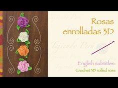 Rosas enrolladas tejidas a crochet / English subtitles: crochet rolled roses Crochet Puff Flower, Knitted Flowers, Crochet Flower Patterns, Crochet Motif, Crochet Designs, Crochet Doilies, Crochet Roses, Unique Crochet, Easy Crochet