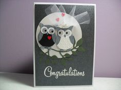 Handmade Wedding Card - Bride and Groom Owl Card - Owl Wedding Card - Congratulations via Etsy