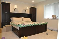 This was another customer designed order. They had limited storage space and wanted to utilize night stands still so we have custom be height pull outs and a full storage bed. Custom designed from scratch! If you have any unique ideas you want built in maple or oak come In and see what we can do for you. www.thebedroomgallery.com www.ballamfurniture.com