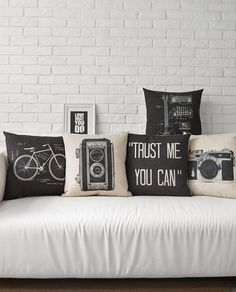 Trust Me You Can Retro Bicycle Recorder Guitar Black And White Massager Decorative Pillows Euro Case Emoji Gift Home Enhance