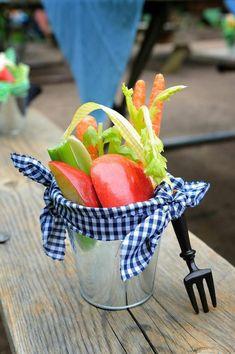 CUTE way to serve veggies and fruit at a party! In a small bucket! Antique Vintage Farm Party via Kara's Party Ideas | Kara'sPartyIdeas.com #Barnyard #PartyIdeas #Supplies #farmparty