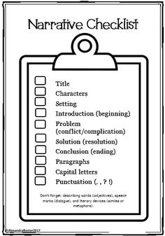 Narrative Writing Packet includes: Worksheets, Graphic Organizers, Posters, Writing Prompts, Checklists