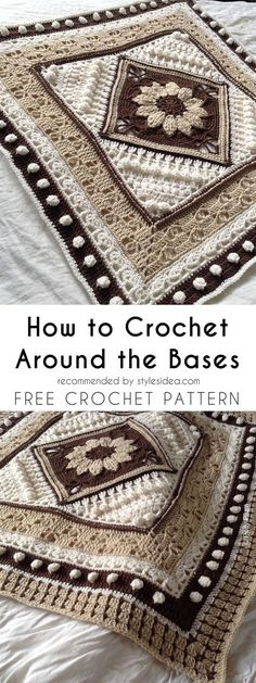 Crochet Patterns Blanket Around the Bases Blanket [Free Crochet Pattern] Crochet Blocks, Crochet Squares, Crochet Motif, Crochet Yarn, Free Crochet, Afghan Crochet, Granny Squares, Crochet Stitches For Blankets, Crochet Blanket Patterns
