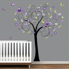Nursery Wall Decals Tree Stickers with Flowers Owls by Modernwalls, $99.00