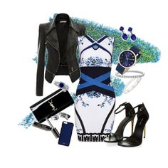 blue black by fkjj on Polyvore featuring polyvore, fashion, style, Yves Saint Laurent, Blue Nile, Cartier, Marc Jacobs, BERRICLE, DesignSix, Valextra and Manic Panic