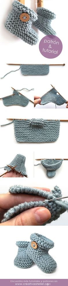 "Patucos de punto sencillos - Tutorial y patrón - Simple Knitted Baby booties - Pattern and tutorial [ ""Patucos de punto sencillos - Tutorial y patrón - Simple Knitted Baby booties - Pattern and tutorial - page is in spanish or portuguese or something, run it through a translator and give these a shot, cute!"", ""Sweet baby shoes in crochet style"", ""We"
