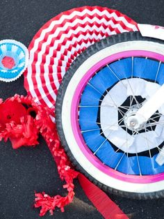 Crepe Paper Streamers Woven into Wheels