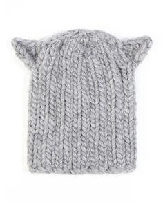 D0R69 Eugenia Kim Felix Cat-Ear Knit Hat, Light Gray