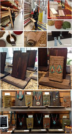 DIY Jewelry display. Simple and easy. Could paint them white or blue with lace instead of burlap.