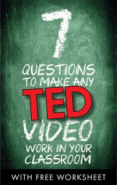 Bring TEDTalks to your classroom • Advice & free worksheet #highschool #middleschool #education #school #free #subplan #flippedlesson