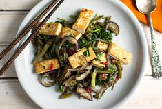 Spicy Stir-Fried Eggplant, Tofu and Water Spinach
