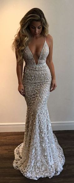 Mermaid 2018 Spaghetti Straps Prom Dress,Beading Lace V-neck Prom Dress Sexy Wedding Dress #mermaid #sexy #prom #wedding #bling #okdresses #longpromdresses