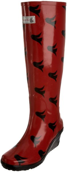 Wedge Welly Women's Freedom Unique Red And Black Rain And Snow Boot Fu-7 7 UK