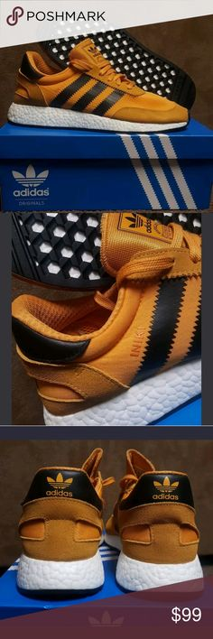 Adidas boost runner INIKI Mens Shoes Size 9.5 NWB A classic is modernized. Adidas Iniki boost sneakers size 9.5 in Goldenrod and black with white boost bottoms. Insanely comfortable. In hand new with box never worn. Will ship next day. adidas Shoes Athletic Shoes