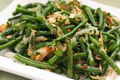 Garlic-Roasted Green Beans with Shallots and Almonds. These delicious beans are #Paleo, #GlutenFree, and #LowCarb [from KalynsKitchen.com]
