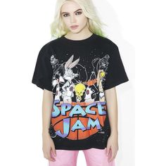Vintage Space Jam Tee ($180) ❤ liked on Polyvore featuring tops, t-shirts, graphic t shirts, loose fit t shirts, vintage tees, loose fitting t shirts and multi color t shirts