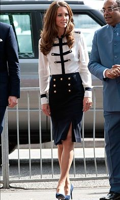 Kate Middleton In Alexander McQueen On A Visit To Summerfield Community Centre, August 2011