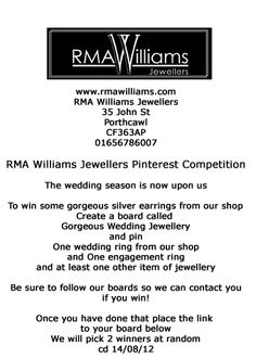 1) Create a board called Gorgeous Wedding Jewellery  2) Pin or repin all these items from our shop  1 wedding ring  1 engagement ring  at least one other item of jewellery  3) Follow our boards  4) Place a link to your board below  Cd 14/08/12  2 winners chosen at random   Good Luck!