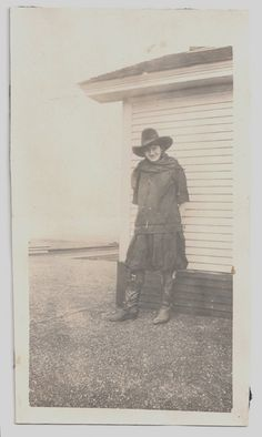 Old photo of a cowgirl wearing a dress and tall boots!  by girlcatdesign