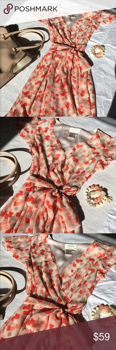 Bright Max Studio Spring Dress Spring/summer Max Studio dress with bright coral, beige, light pink and white pattern. Worn two times. I love this dress, but it's too small on me now. Pair with tan wedges, beaded coral bracelet and dainty earrings and you're ready to transition from office look to date night! Max Studio Dresses Mini