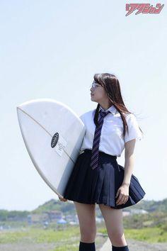 ASAKAWA Nana 浅川梨奈 in Manga Action 50th Anniversary edition with surfer theme #なぁぽん #アイドル #女優 #グラドル 「女子高生サーファー」