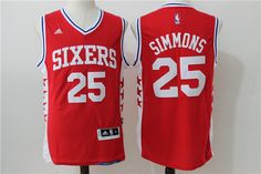 Philadelphia 76ers  25 Simmons Red Men 2017 New Logo NBA Adidas Jersey  Bryant Lakers 0417630f4