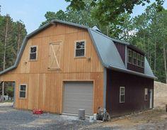 30x40x10 T-1-11, gambrel frame, 8′ lean-to, dormers, 4 x 7 loft door