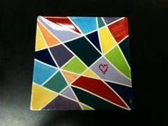 Square plate painted by Jennifer Beamer