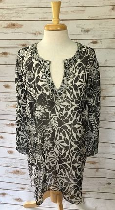 Chico's Sheer Tunic Top Black White Floral Beaded Shirt size 3 100% Silk #Chicos #Tunic #Casual