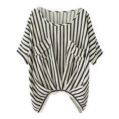 Стильная женская футболка в полоску с двумя карманами, цвет-чёрный и белый, цена указана за 1 шт.