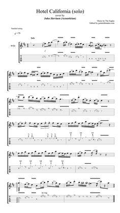 Acoustician - Hotel California solo tab - pdf guitar tab - guitar pro tab download - acoustic guitar solo tabs