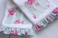 embellished store bought dish towels with a monogram and ruffles