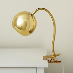 Gold Vintage Clip On Table Lamp in soft and quiet - for kids, but i love it. #gold #shiny