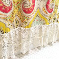 French Country Shower Curtain Bohemian Ruffle Shabby Chic Lace Bathroom Curtain