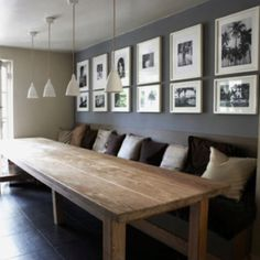 For you, Melissa...except with Mason jar pendant lighting.  Love the reclaimed barn wood type table.