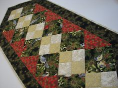 Quilted Table Runner, Christmas Table Mat, Winter Birds, Greenery and Snowflakes, Green, Red and Gold Table Runner, Quiltsy Handmade by VillageQuilts on Etsy