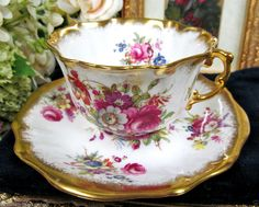 HAMMERSLEY SIGNED HOWARD TEA CUP AND SAUCER LADY PATRICIA PAINTED TEACUP