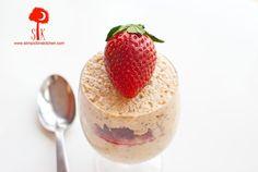 Peanut Butter & Jelly - strawberries, chia, oats, vanilla almond milk (sub vanilla/milk/almonds?), greek yogurt, peanut butter, vanilla, salt, sweetener (maybe use a tiny bit of strawberry jelly?)