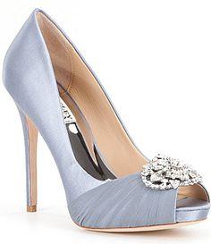 Badgley Mischka Desi CrystalEmbellished Satin Peep Toe Pumps #Dillards