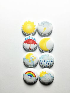 Watercolor Weather Flair by aflairforbuttons on Etsy