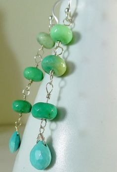 Ombre Green Chrysoprase & Turquoise Drop Earrings – Sara Nolte Designs