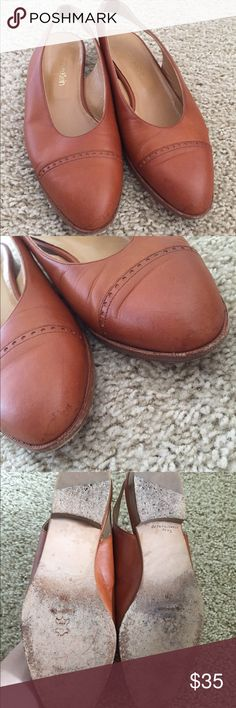Calvin Klein Tan Flats - Size 7 Calvin Klein cognac colored flats with an elastic strap in the back. They are in fairly worn condition but still have a lot of life left. ❌NO TRADES. NO PAYPAL.❌ Calvin Klein Shoes Flats & Loafers