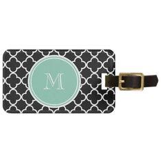 Black Quatrefoil Pattern, Mint Green Monogram Luggage Tag