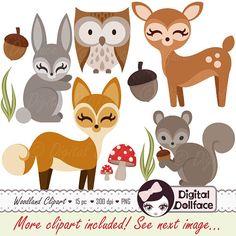 Woodland Forest Animal Clipart Owl Deer Fox by DigitalDollface