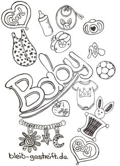 Draw Doodles - Many templates for your inspiration and creativity - bleib-gestreift. Baby Boy Scrapbook, Doodle Art Drawing, Baby Drawing, Doodle Baby, Doodle On Photo, Baby Sketch, Baby Shower Templates, Banner Drawing, Baby Journal