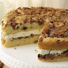 Cream-Filled Cinnamon Coffee Cake Recipe...makes up quick and looks beautiful when done....a nice moist cake with a creamy center!!